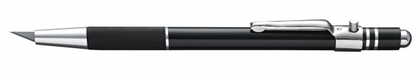 Druckknopfmesser Aluminium schwarz, 30° Klinge