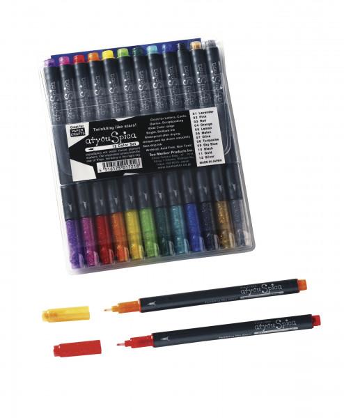 Glitter Pen Set A, 12 Farben